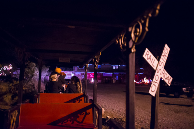 """Visitors take a train from the parking lot to """"Bonnie Screams"""" at Bonnie Springs Ranch outside of Las Vegas on Tuesday, Oct. 25, 2016. (Chase Stevens/Las Vegas Review-Journal Follow @csstevensphoto)"""
