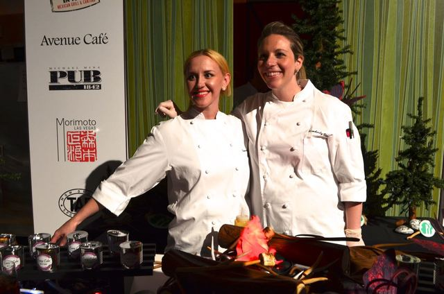 Denise Elliott, left, and Kimberly Vitou of MGM Resorts International took first place at the 2016 Dessert Before Dinner gala dessert competition for their Camp Cake in a Can featuring a warm choc ...