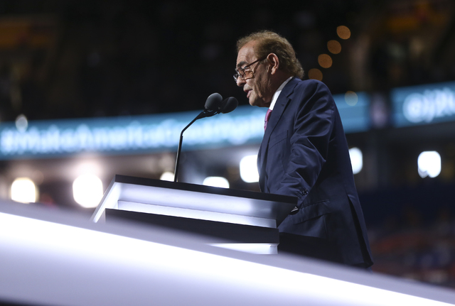 Phil Ruffin speaks during the Republican National Convention at Quicken Loans Arena in Cleveland on Wednesday, July 20, 2016. (Chase Stevens/Las Vegas Review-Journal) Follow @csstevensphoto