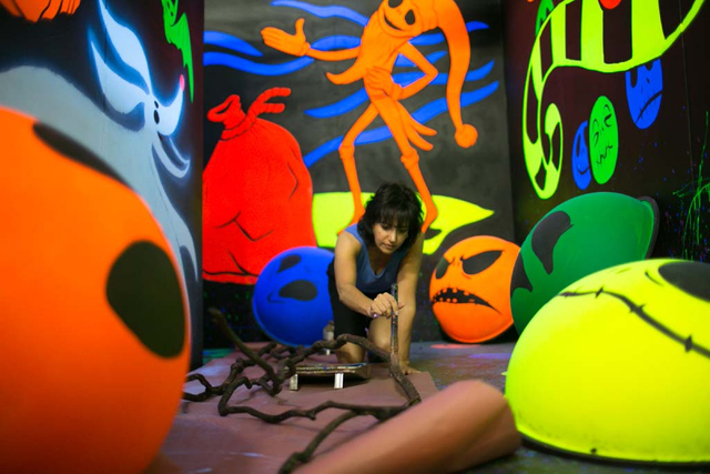 An artist creates a 3-D landscape inside a maze for Opportunity Village's HallOVeen in this undated photo. The converted Magical Forest is set to be open from 5:30 to 9:30 p.m. Oct. 14-31. View fi ...