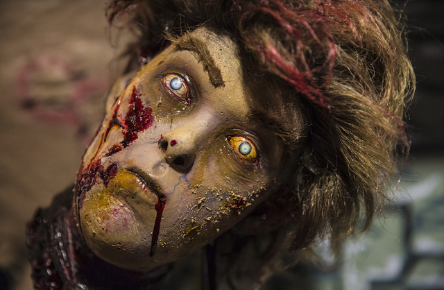 A decapitated head at HalloweenMart Sept. 29, 2016, in Las Vegas. Benjamin Hager/View