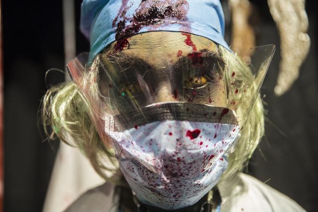 A crazy doctor mask at HalloweenMart Sept. 29, 2016, in Las Vegas. Benjamin Hager/View