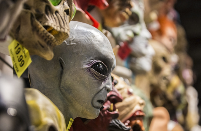 Hundreds of elaborate masks are hung from floor to ceiling at HalloweenMart Sept. 29, 2016, in Las Vegas. Benjamin Hager/View