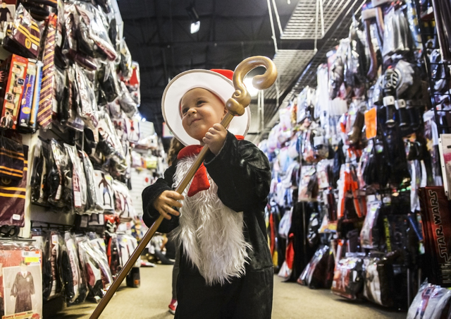 nicolas pstlewait tries on a the cat in the hat costume at halloweenmart sept - Halloween Mart Coupon Code