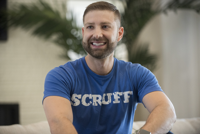 Johnny Skandros, founder of gay dating app Scruff, hangs out at his home in Las Vegas on Tuesday, Oct. 18, 2016. Martin S. Fuentes/Las Vegas Review-Journal