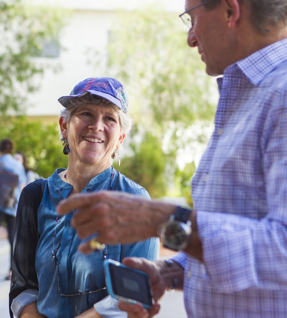 Jean Sternlight, director of the Saltman Center for Conflict Resolution, left, chats with Michael Saltman outside of the William S. Boyd School of Law at UNLV in Las Vegas on Tuesday, Oct. 11, 201 ...