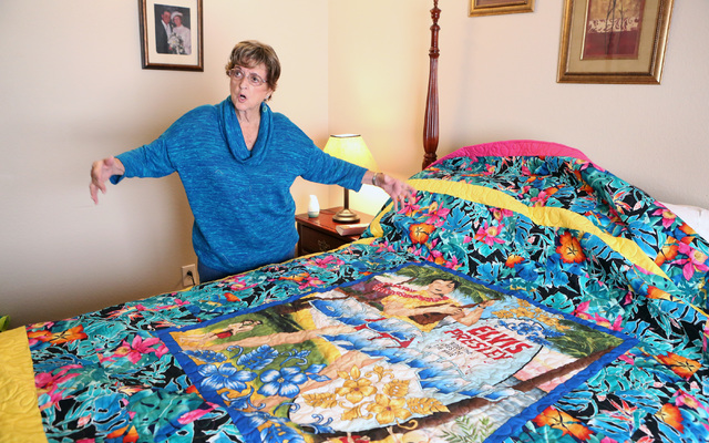 Loretta Eichelberger, 86, talks about Elvis Presley flannel quilt she has made at her North Las Vegas home Wednesday, Oct. 5, 2016. Eichelberger lives a full life quilting, gardening, going to sch ...