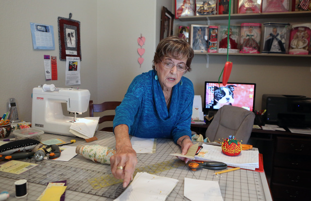 Loretta Eichelberger, 86, speaks about her sewing experience during an interview at her North Las Vegas home Wednesday, Oct. 5, 2016. Eichelberger lives a full life quilting, gardening, going to s ...