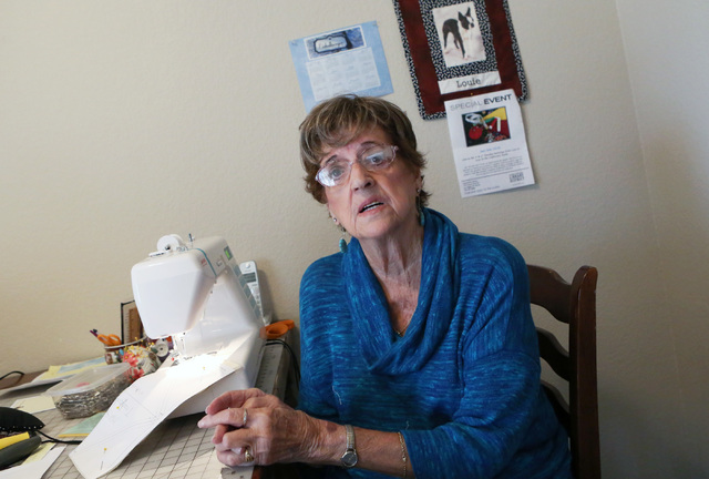 Loretta Eichelberger, 86, speaks during an interview at her North Las Vegas home Wednesday, Oct. 5, 2016. Eichelberger lives a full life quilting, gardening, going to school, volunteering, and wor ...