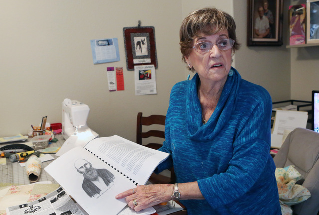 Loretta Eichelberger, 86, talks about her genealogy book she compiled about George Washington Young Sr., during an interview at her North Las Vegas home Wednesday, Oct. 5, 2016. (Bizuayehu Tesfaye ...