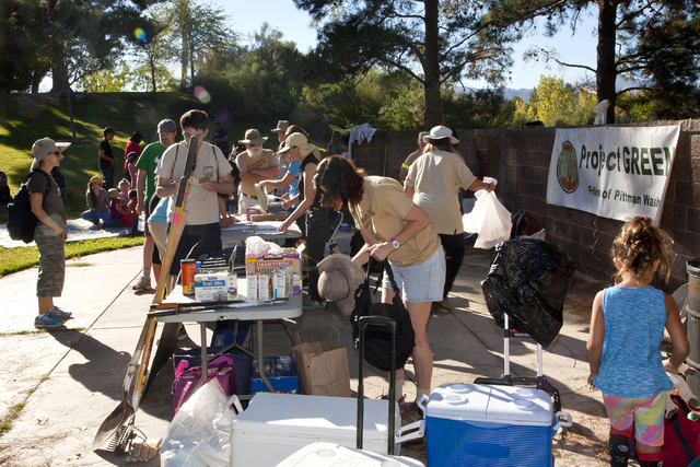 Volunteers with Project GREEN: Friends of the Pittman Wash gather for a cleanup day Sept. 24 at the Pittman Wash area in Henderson. Jeferson Applegate/View