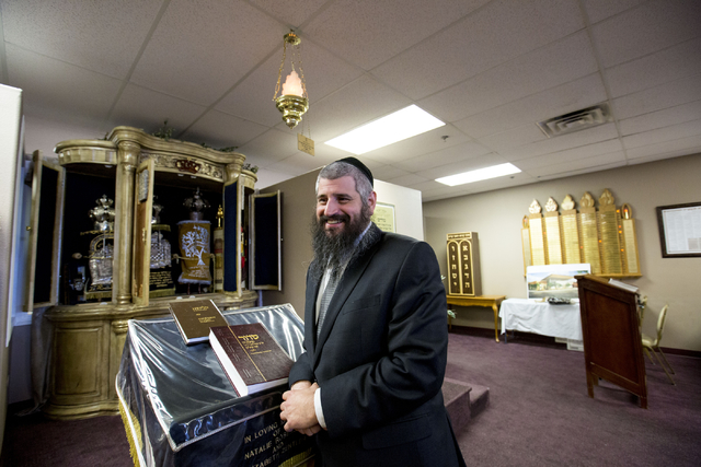 Rabbi Mendy Harlig of Chabad of Green Valley, stands in his synagogue that is offering free seating to services during High Holy Days, Thursday, Sept. 29, 2016, in Henderson. Elizabeth Page Brumle ...