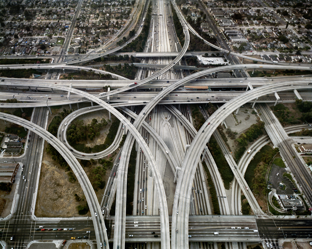 "Award-winning photographer Edward Burtynsky captures the intersection of two Los Angeles freeways from an eye-in-the-sky perspective in a 2003 image featured in ""Oil,"" now at UNLV's Marjorie Barri ..."