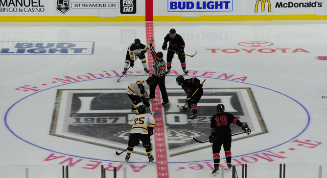 UNLV and Arizona State face-off during their ACHA Division II club hockey game at T-Mobile Arena  in Las Vegas Sunday, Oct. 9, 2016. (Josh Holmberg/Las Vegas Review-Journal)