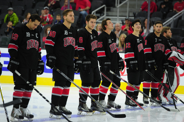 UNLV players line up before the start of their ACHA Division II club hockey game against Arizona State at T-Mobile Arena  in Las Vegas Sunday, Oct. 9, 2016. UNLV won 3-2. (Josh Holmberg/Las Vegas  ...