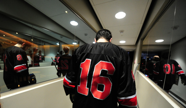 UNLV forward Dion Antisin walks through a tunnel to enter the ice before their ACHA Division II club hockey game against Arizona State at T-Mobile Arena  in Las Vegas Sunday, Oct. 9, 2016. Velasco ...