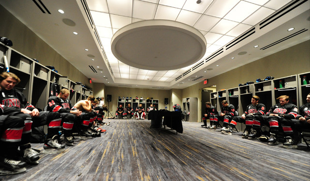 UNLV players look on in the locker room before their ACHA Division II club hockey game against Arizona State at T-Mobile Arena  in Las Vegas Sunday, Oct. 9, 2016. Velasco was penalized for roughin ...