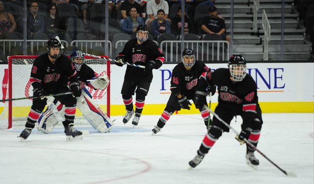 UNLV players take a defensive position while on a penalty kill against Arizona State during their ACHA Division II club hockey game at T-Mobile Arena  in Las Vegas Sunday, Oct. 9, 2016. UNLV won 3 ...