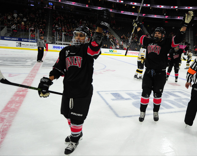 UNLV players celebrate a goal against Arizona State during their ACHA Division II club hockey game at T-Mobile Arena  in Las Vegas Sunday, Oct. 9, 2016. UNLV won 3-2. (Josh Holmberg/Las Vegas Revi ...