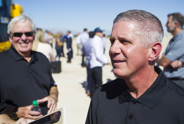 Kerry Bubolz, president of Las Vegas' NHL expansion team, talks after the groundbreaking ceremony for the team's practice facility and headquarters in Las Vegas on Wednesday, Oct. 5, 2016. Chase S ...