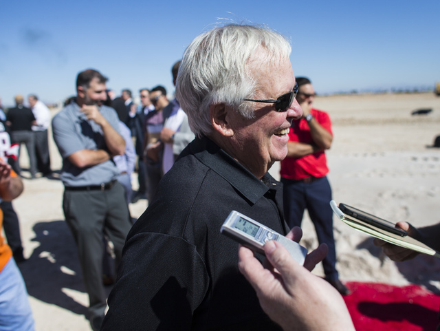 Bill Foley, owner of Las Vegas' NHL expansion team, talks after the groundbreaking ceremony for the team's practice facility and headquarters in Las Vegas on Wednesday, Oct. 5, 2016. Chase Stevens ...