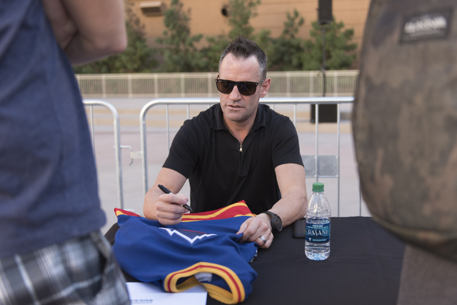 Retired NHL player Stphane Yelle signs autographs during the Vegas Hockey Fan Fest at Toshiba Plaza in Las Vegas, Saturday, Oct. 8, 2016. Jason Ogulnik/Las Vegas Review-Journal