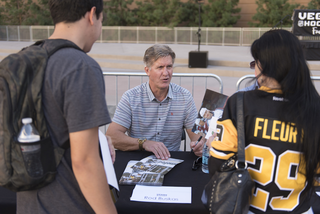 Retired NHL player Rod Buskas signs autographs during the Vegas Hockey Fan Fest at Toshiba Plaza in Las Vegas, Saturday, Oct. 8, 2016. Jason Ogulnik/Las Vegas Review-Journal