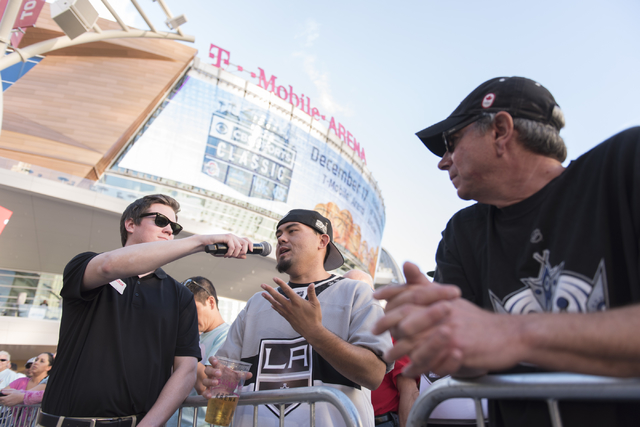 Sean Tierney asks Las Vegas NHL franchise owner Bill Foley a question during the Vegas Hockey Fan Fest at Toshiba Plaza in Las Vegas, Saturday, Oct. 8, 2016. Jason Ogulnik/Las Vegas Review-Journal
