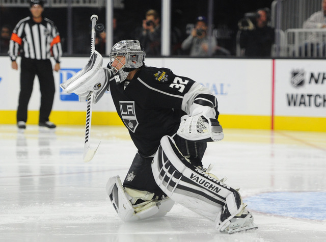 Los Angeles Kings goalie Jonathan Quick (32) makes a paddle save against the Colorado Avalanche in the second period of their NHL preseason hockey game at T-Mobile Arena in Las Vegas Saturday, Oct ...