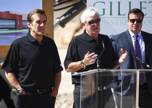 Bill Foley, the owner of Las Vegas' NHL expansion team, center, speaks during the groundbreaking ceremony for the team's practice facility and headquarters in Las Vegas on Wednesday, Oct. 5, 2016. ...