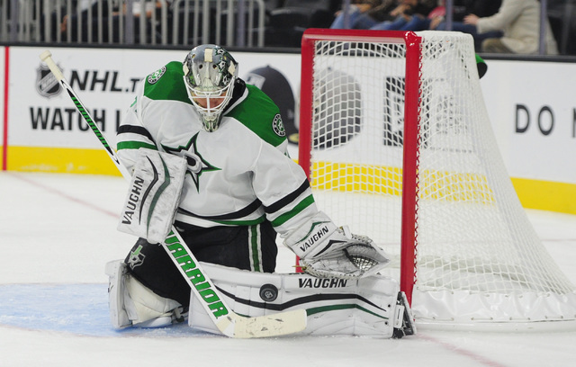 Dallas Stars goalie Antti Niemi (31) makes a pad save off of a Los Angeles Kings shot in the third period of their NHL preseason hockey game at T-Mobile Arena in Las Vegas, Friday, Oct. 07, 2016.  ...