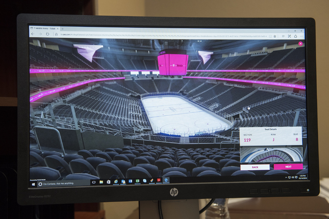 A virtual view of the T-Mobile arena is seen from your seat location before purchasing season tickets from their NHL office in Las Vegas on Friday, Oct. 14, 2016. (Martin S. Fuentes/Las Vegas Revi ...