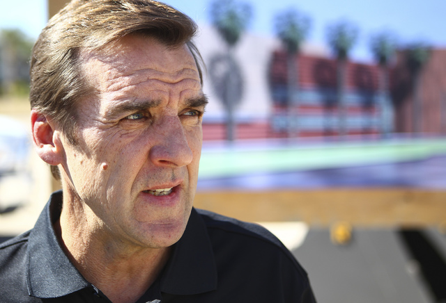 George McPhee, general manager of Las Vegas' NHL expansion team, talks after the groundbreaking ceremony for the Las Vegas NHL expansion team's practice facility and headquarters in Las Vegas on W ...