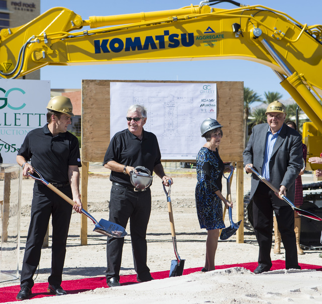 Bill Foley, the owner of Las Vegas' NHL expansion team, second from left, smiles during the groundbreaking ceremony for the team's practice facility and headquarters in Las Vegas on Wednesday, Oct ...