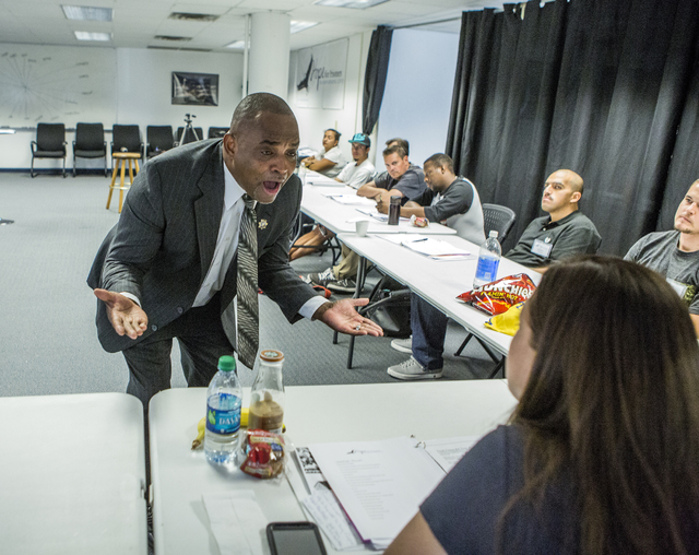 The Rev. Jon Ponder, founder of Hope for Prisoners, speaks during a pre-vocational leadership workshop on Thursday, Aug. 18, 2016. (Jeff Scheid/Las Vegas Review-Journal) Follow @jeffscheid