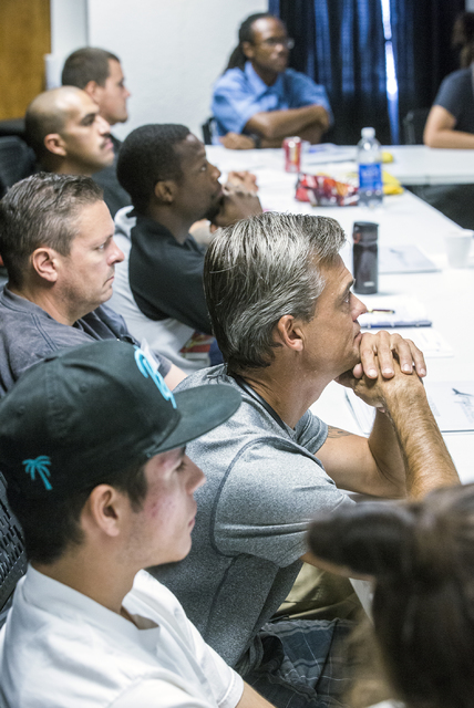 Former inmates listen during a Hope for Prisoners pre-vocational leadership workshop at 3430 E. Flamingo Road on Thursday, Aug. 18, 2016. (Jeff Scheid/Las Vegas Review-Journal) Follow @jeffscheid