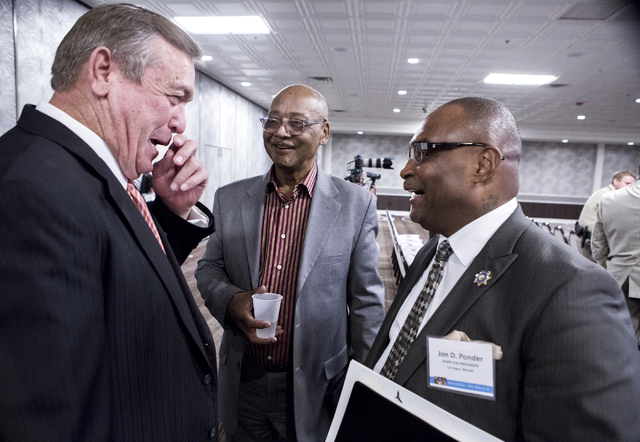 Rep. Cresent Hardy, R-Nev., left, talks to Bob Woodson, founder of the Center for Neighborhood Enterprise in Washington D.C. and Jon Ponder, right, founder and CEO of HOPE for Prisoners, talk duri ...