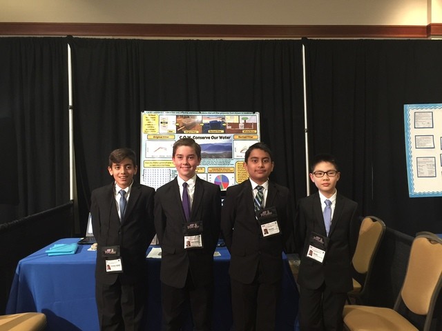 Conserve Our Water team members, from left, Chris Yeghianyan, Austin Parkerson, Daniyal Qazi and Jang Choe were among the top 20 national finalists in the 2016 eCybermission competition for their  ...