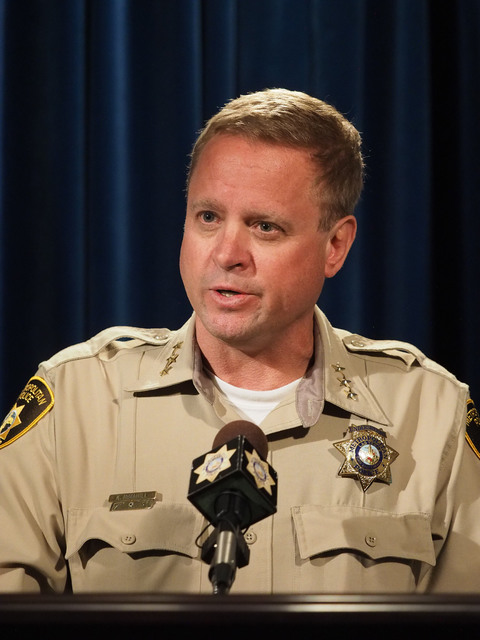 Metro Undersheriff Kevin McMahill speaks during a news conference at Metropolitan Police headquarters, Monday, Oct. 17, 2016, regarding a fatal officer involved shooting on Oct. 12, 2016. Jerry He ...