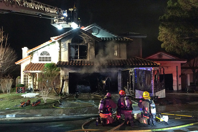 The fire at 1708 Pacific St., which was deemed to have accidentally sparked in some trash cans inside the home's garage, destroyed the room and a vehicle parked in it, Las Vegas Fire Department  ...