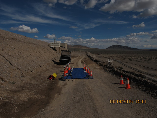 A decontamination site is seen at a low-level radioactive waste landfill 11 miles south of Beatty on Oct. 18, 2015. (Maj. Nate Taylor/Nevada Army National Guard)