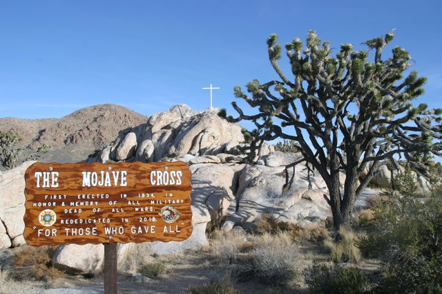 A rock formation along Cima Road in Mojave National Preserve is home to the Mojave Cross, a memorial dedicated to the military dead of all wars. (Richard N. Velotta/Las Vegas Review-Journal)