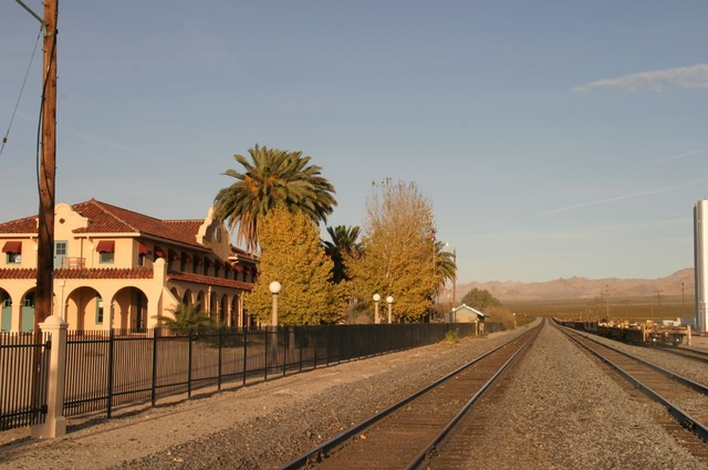 An active freight rail line traverses Mojave National Preserve and a historic train depot in Kelso, California, has been converted to a visitor center inside the depot. (Richard N. Velotta/Las Veg ...