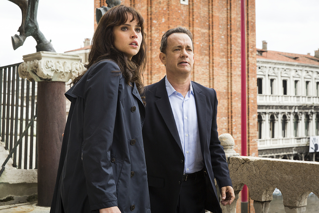 Langdon (Tom Hanks) and Sienna (Felicity Jones) on the balcony of St. Marks Basilica in Columbia Pictures' 'Inferno.'