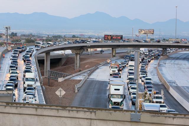Heavy traffic on southbound Interstate 15 in the Spaghetti Bowl is seen due to a crash near Charleston Boulevard, Monday, Oct. 24, 2016.  (Bizuayehu Tesfaye/Las Vegas Review-Journal) Follow @bizut ...
