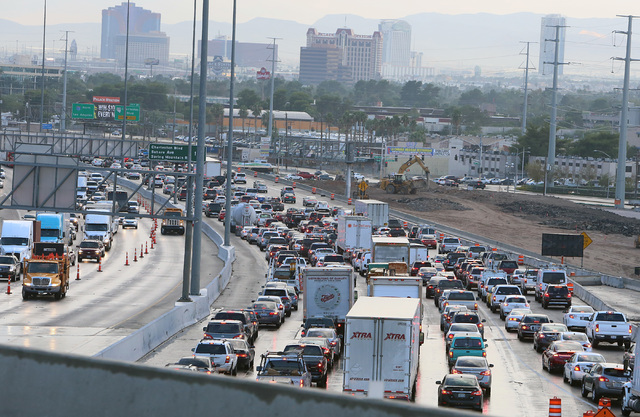 Heavy traffic on southbound Interstate 15 is seen due to a crash near Charleston Boulevard, Monday, Oct. 24, 2016. A man died after crashing his pickup into another truck.  (Bizuayehu Tesfaye/Las  ...