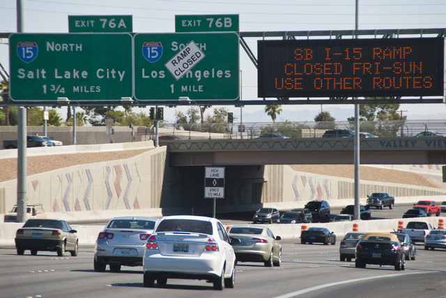 Signs warn drivers of the southbound Interstate 15 exit closure along southbound U.S. Highway 95 near the Spaghetti Bowl on Saturday, Sept. 17, 2016. (Daniel Clark/Las Vegas Review-Journal Follow  ...
