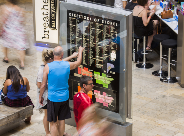People look at a store directory Saturday, Aug. 03, 2016 at the Fashion Show. Jeff Scheid/Las Vegas Review-Journal Follow @jeffscheid