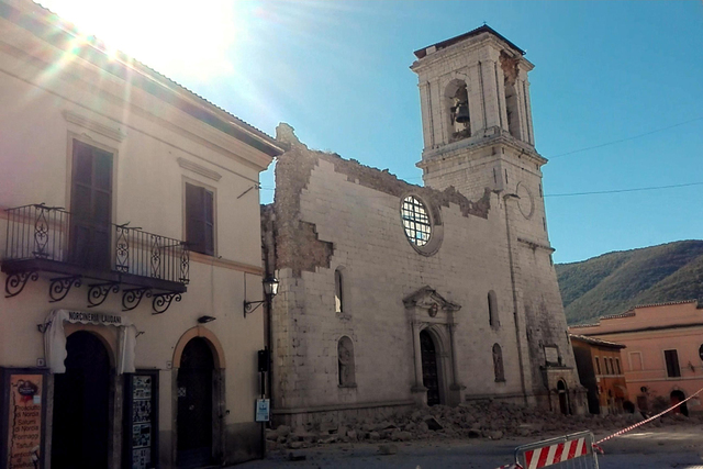 The Cathedral of Santa Maria Argentea is destroyed in Norcia, Italy, after an earthquake with a preliminary magnitude of 6.6 struck central Italy, Sunday, Oct. 30, 2016. Another powerful earthquak ...
