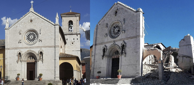 This 2-picture combo shows the 14th century Cathedral of St. Benedict (San Benedetto) with its bell tower in the background on Aug. 21, 2016, left, and collapsed after an earthquake on Sunday, Oct ...